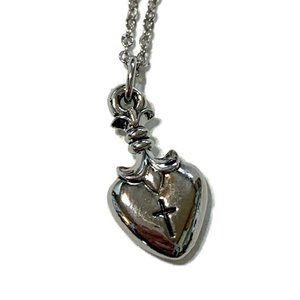 VTG Silver tone heart with cross necklace